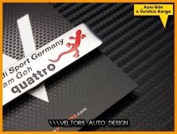 Audi Quattro Sport Germany Team Torpido Kokpit Plaket Logo Amblem