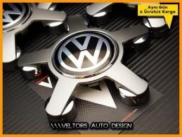 VW Logo Amblem 5 Kol Jant Göbeği Göbek Kapak Seti