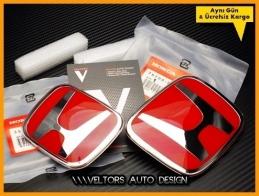 Honda Civic FD7 Orjinal Kırmızı Kaput Bagaj Logo Amblem Seti