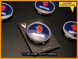 Saab Logo Amblem Orjinal Jant Göbek Kapak Seti