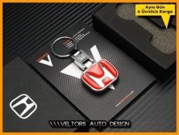 Honda Kırmızı Logo Amblem Özel Krom Honda Anahtarlık