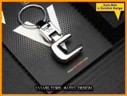 Mercedes C Class Serisi Logo Amblem Özel Krom C Anahtarlık