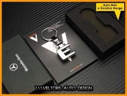 Mercedes E Class Serisi Logo Amblem Özel Krom E Anahtarlık