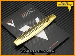 Porsche Gold Torpido Kokpit Logo Amblem