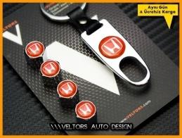 Honda Kırmızı Logo Amblem Anahtarlık Sibop Kapak Seti