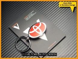 Toyota Logo Amblem Özel Krom Kırmızı Toyota Anahtarlık