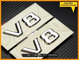 Mercedes V8 Yan Logo Amblem Seti