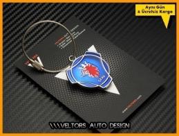 Saab Logo Amblem Özel Krom Saab Anahtarlık