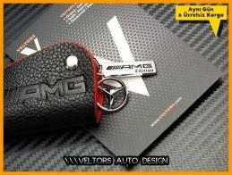 Mercedes 3D Gerçek Deri Kırmızı AMG Logo Amblem Anahtarlık