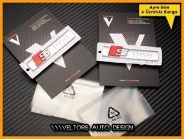 Audi S Line Orjinal Yan Çamurluk Logo Amblem Seti