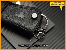 Mercedes  Carlsson Logo Amblem Gerçek Deri Anahtarlık