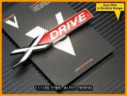 BMW Red xDrive X Drive Bagaj Yazı Logo Amblem