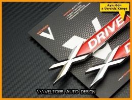 BMW Red x Drive xDrive Yan Logo Amblem Seti