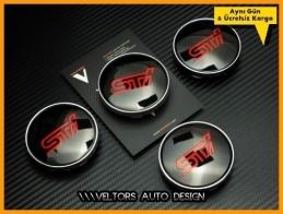 Subaru Sti Logo Amblem Jant Göbeği Göbek Kapak Seti