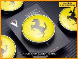 Ferrari Logo Amblem Jant  Göbek Kapak Seti