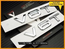 Audi V6 / V6 T Yan Çamurluk Logo Amblem Seti