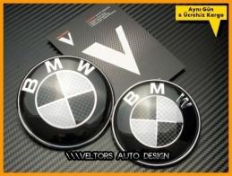 BMW Carbon Ön Kaput Arka Bagaj Logo Amblem Seti