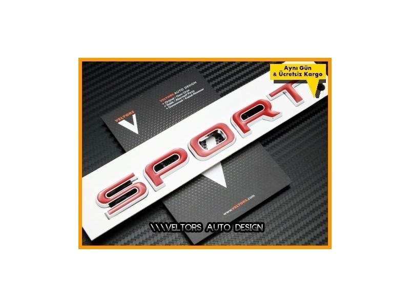 Land Rover Kırmızı Sport Bagaj Yazı Logo Amblem