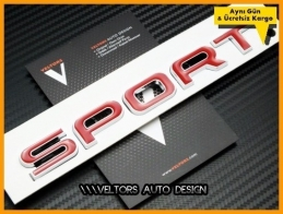 Range Rover Kırmızı Sport Bagaj Yazı Logo Amblem