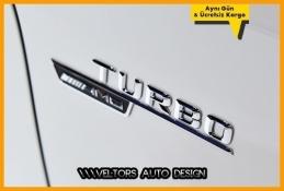 Mercedes Orjinal Turbo AMG Yan Çamurluk Logo Amblem Seti