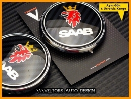 Saab Carbon Kaput Bagaj Logo Amblem Seti