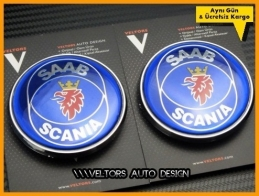 Saab Scania Kaput Bagaj Logo Amblem Seti