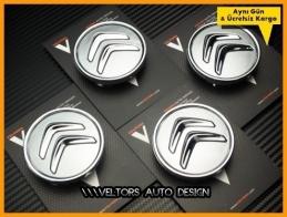 Citroen Logo Amblem Jant Göbeği Göbek Kapak Seti
