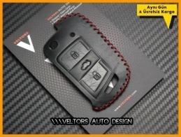 VW Golf 7 Polo Jetta Deri Anahtarlık Anahtar Kabı Koruma Kılıf