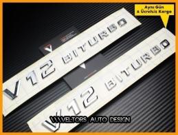 Mercedes V12 Biturbo Yan Logo Amblem Seti