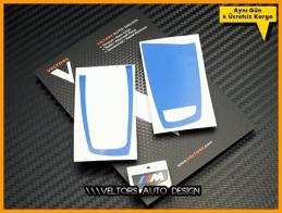 BMW M Mavi Anahtarlık Kumanda Çerçeve Logo Amblem Seti