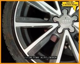 Audi Logo Amblem 5 Kol Jant  Göbek Kapak Seti