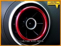 Audi A3 Serisi Kırmızı Klima Halka Çerçeve Seti