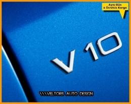 Audi Orjinal V10 Çamurluk Yazı Logo Amblem Seti