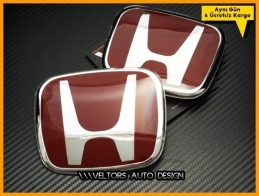 Honda Civic 2017 2018 2019 FC5 Kırmızı Kaput Bagaj Logo Amblem Seti