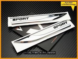 VW Sport Yan Çamurluk Yazı Logo Amblem Seti