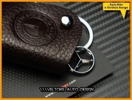 Mercedes Kahverengi Gerçek Deri Logo Amblem Anahtarlık