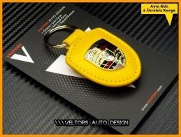 Porsche Yellow / Sarı Deri Porsche Anahtarlık