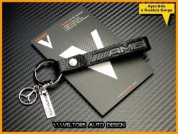 Mercedes AMG Logo Amblem Özel Deri Krom AMG Anahtarlık