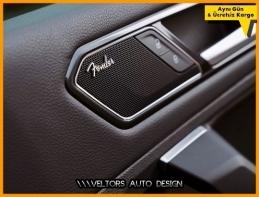 VW Fender Logo Amblem Hoparlör Stereo Logo Amblem Seti