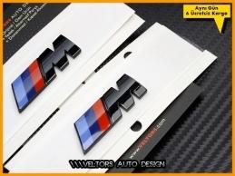 BMW Yan Çamurluk Parlak Siyah Piano Black Sağ Sol M Logo Amblem Seti
