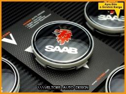 Saab Logo Amblem Jant Göbeği Göbek Kapak Seti