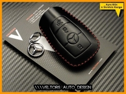 Mercedes Logo Amblem Yeni Tip Deri Anahtar Kumanda Kabı