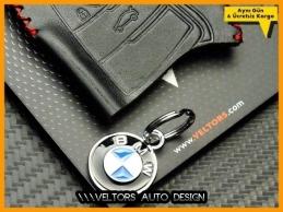 BMW Gerçek Deri BMW Logo Amblem Anahtarlık