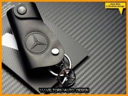 Mercedes Gerçek Deri Logo Amblem Anahtarlık