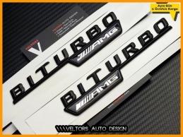 Mercedes Black / Siyah AMG BiTurbo Logo Amblem Seti