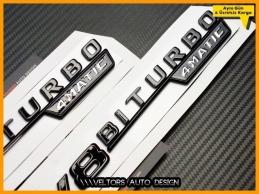 Mercedes Black / Siyah V8 Biturbo 4 Matic Logo Amblem Seti