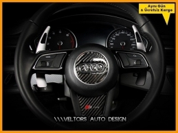 Audi Carbon / Karbon Airbag Direksiyon Logo Amblem Kaplama Seti