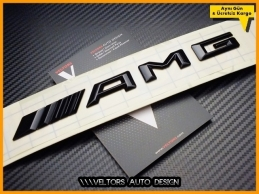 Mercedes Glossy Black Siyah AMG Yazı Logo Amblem
