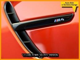BMW F32 F33 F36 M Technic M4 Yan Çamurluk Izgara Yazı Logo Amblem Seti