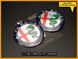 Alfa Romeo Yeni Nesil Ön Kaput Arka Bagaj Logo Amblem Seti